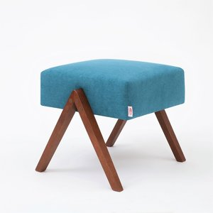 Meubelen-Online - Voetenbank Retrostar stof turkoois vintage design