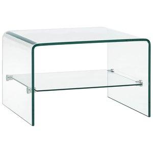 Meubelen-Online - Bijzettafel Phenix 50x45x33 cm gehard glas transparant