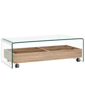 Meubelen-Online - Salontafel Barca 98x45x31 cm glas met houten bak