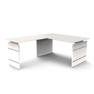 Meubelen-Online - Hoekbureau Office desk 160cm wit hoogte verstelbaar