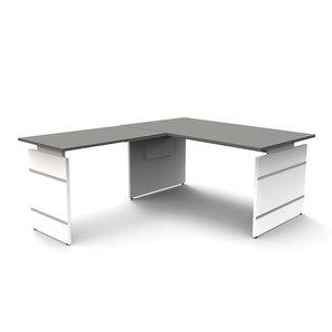 Meubelen-Online - Hoekbureau Office desk 160cm grijs hoogte verstelbaar