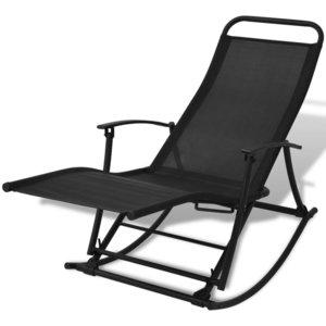 Meubelen-Online - Tuinstoel Flex schommelstoel staal en textileen zwart