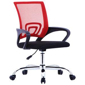 Meubelen-Online - Bureaustoel Mesh rugleuning stof rood verstelbaar