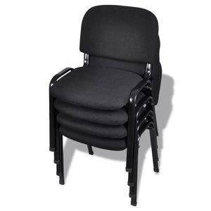 Meubelen-Online - Bureaustoel Zap set 4 st stapelbaar zwart