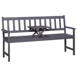 Meubelen-Online - Tuinbank met tafel Arno 3-zits 158cm acaciahout grijs