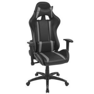 Meubelen-Online - Bureaustoel gamestoel Safi verstelbaar zwart grijs
