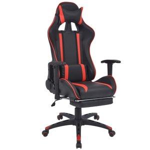 Meubelen-Online - Bureaustoel gamestoel Speed verstelbaar met voetensteun rood