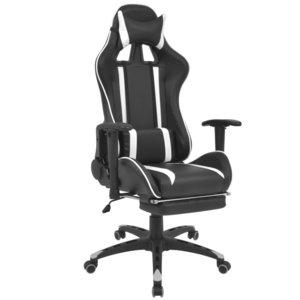 Bureaustoel Met Voetsteun.Bureaustoel Gamestoel Speed Verstelbaar Met Voetsteun Zwart Wit
