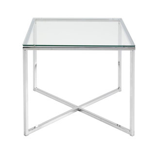 Bijzettafel In Glas.Bijzettafel Criss Vierkant Helder Glas Meubelen Online