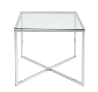 Bijzettafel Criss vierkant helder glas