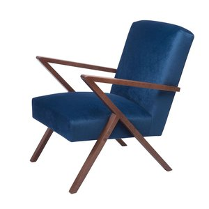 Sternzeit-Design - Fauteuil Retrostar velvet blauw vintage design