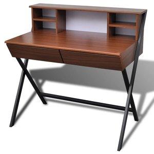 Meubelen-Online - Bureau Classy bruin hout met staal en lades