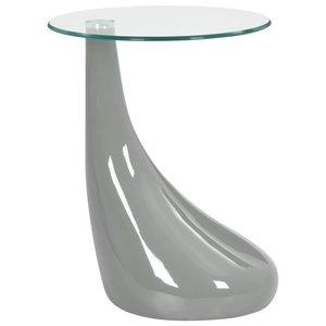 Meubelen-Online - Bijzettafel Drop rond glazen tafelblad hoogglans grijs
