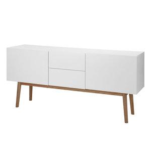 Meubelen-Online - Dressoir Nova mat wit met houten poten