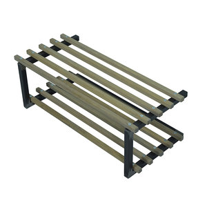 Schoenenrek Rino zwart metaal met hout