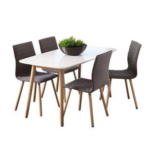 Eethoek Salvador grijs set tafel met vier stoelen