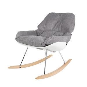 Meubelen-Online Schommelstoel Marva fauteuil grijs stof