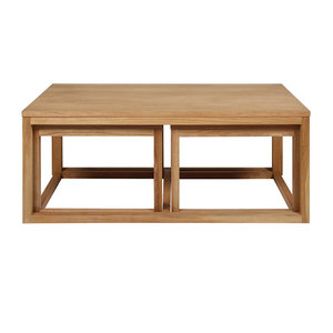 Pit-Art collectie - Salontafel Bakoe set 3 tafels naturel hout