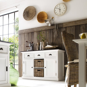 Nova solo Buffetkast Landhuis wit met zwart blad 2 deuren 3 lades