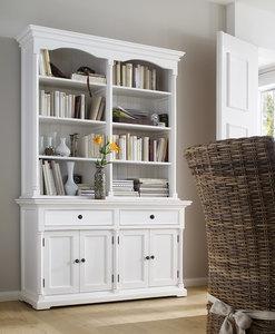 Nova solo Buffetkast Cottage wit deuren en open vakken sfeer
