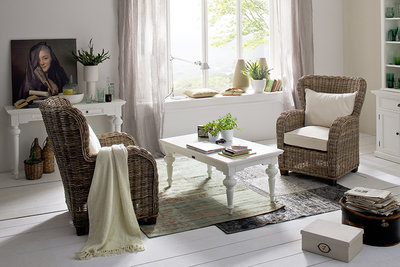 Nova solo Salontafel 120cm Cottage wit hout rechthoekig sfeer