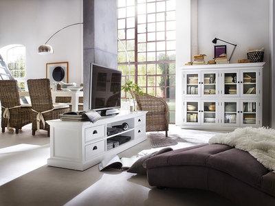 TV-meubel Wittevilla 180cm wit met 4 lades en open vakken