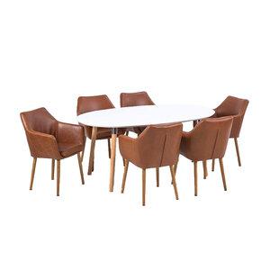 Meubelen-Online Vergadertafel TOP Meeting met 6 stoelen bruin eethoek
