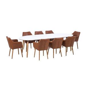 Meubelen-Online Vergadertafel TOP Meeting met 8 stoelen bruin eethoek