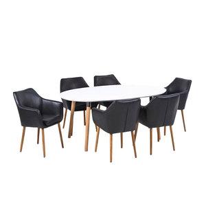 Lange Eettafel 6 Stoelen.Vergadertafel Top Meeting Met 6 Stoelen Zwart Eethoek