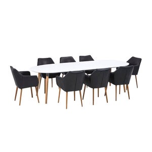 Meubelen-Online Vergadertafel TOP Meeting met 8 stoelen zwart eethoek