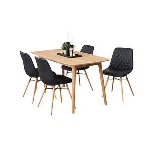Meubelen-Online Eethoek Paulo zwart complete set tafel met vier stoelen