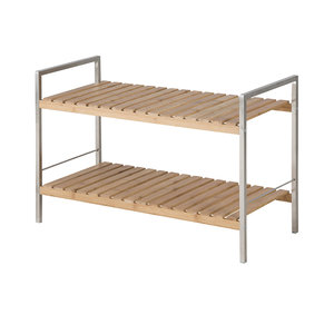 Meubelen-Online Schoenenrek Barbara 2 planken hout met RVS