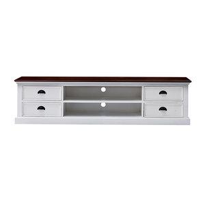 Nova solo - TV-meubel Studio 180cm wit hout met bruin blad