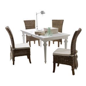 Meubelen-Online - Eethoek Salsa tafel 180cm wit met 4 stoelen riet