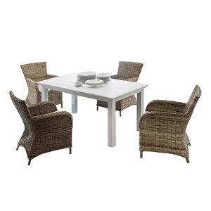 Nova solo - Eethoek Rook tafel 160cm wit met 4 stoelen riet