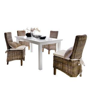 Nova solo - Eethoek Morin tafel 180cm wit met 4 stoelen riet