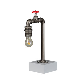 Expo Trading - Tafellamp Fire Hose 46cm vintage zilver industrieel