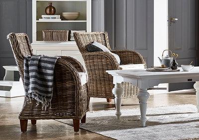 Kussens Voor Stoelen : Fauteuil baron riet met kussens naturel set stoelen