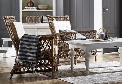 Kussens Voor Stoelen : Fauteuil marquis riet met kussens naturel set stoelen
