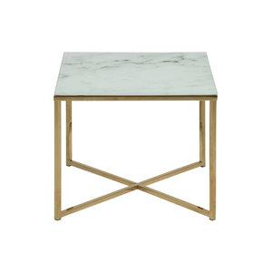 Actona - Bijzettafel Marmaris vierkant wit met goudkleur