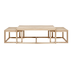 Pit-Art collectie - Salontafel Bakoe set 3 tafels wit pigment hout