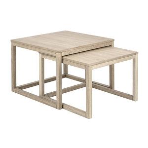 Pit-Art collectie - Salontafel Bakoe set 2 tafels wit pigment hout