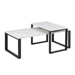 Meubelen-Online - Salontafel Magnus set 2 tafels marmer met zwarte poten
