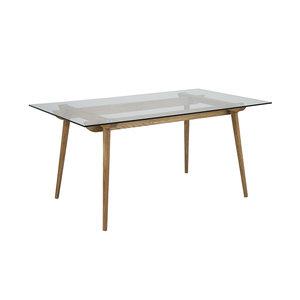 Meubelen-Online - Eettafel Sevilla hout met glas 160cm