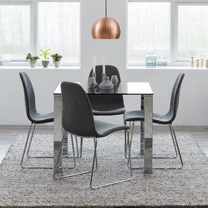 Meubelen-Online - Eethoek Linizio tafel glas met vier stoelen