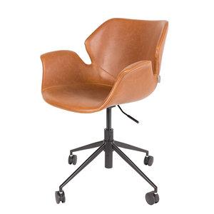 Meubelen-Online - Bureaustoel Nikki bruin design merk Zuiver