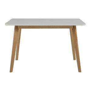 Meubelen-Online - Eettafel Basic 120x80cm wit met blank hout