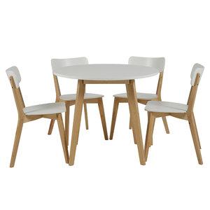 Meubelen-Online - Eethoek Basic rond compleet met 4 stoelen