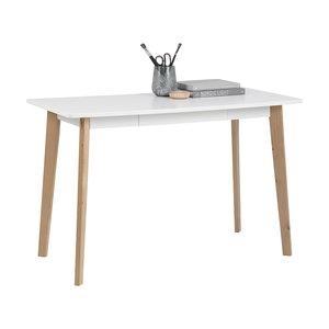 Meubelen-Online - Bureau Basic wit met houten poten