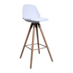 Massief Houten Barkrukken.Counter Chair Donna Wit Barkruk